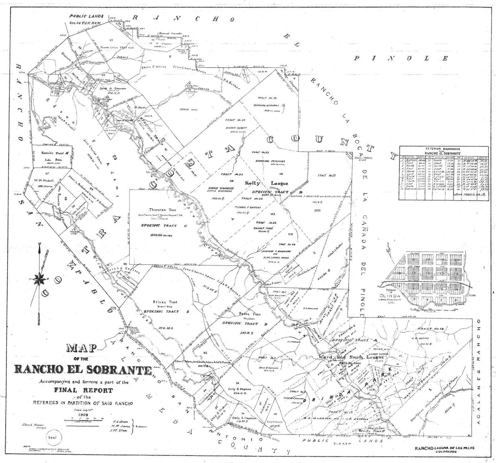 El Cerrito Historical Society History Of California 2nd Judicial Circuit Maps This Map Shows The Borders And Landowners In Rancho Sobrante As Set Down By Court At Close Final Case Regarding Land Ownership